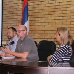 Nenad Antic, Nemanja Nenadic and Ana Martinovic at LAP Vranje Public Debate 1