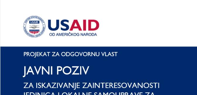 Drugi Javni poziv za lokalne samouprave za učešće u USAID-ovom Projektu za odgovornu vlast