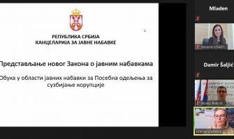 Online obuka o novom Zakonu o javnim nabavkama za predstavnike Posebnih odeljenja za suzbijanje korupcije Viših javnih tužilaštava i Odeljenje za borbu protiv korupcije MUP-a Republike Srbije